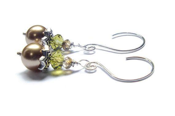 Bronze Pearl Earrings Swarovski Pearl Earrings by harmony5 on Etsy