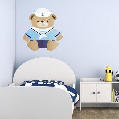 adesivo murale bambino orsetto marinaio