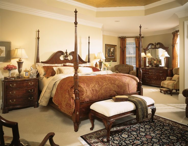 This pediment poster bed with delicately turned posts and intricate carved detailing on the bed feet and head board brings a traditional style to your bedroom. Available in a King, Queen, and California King. #bed #americandrew #cherrygrove45 #bedroom
