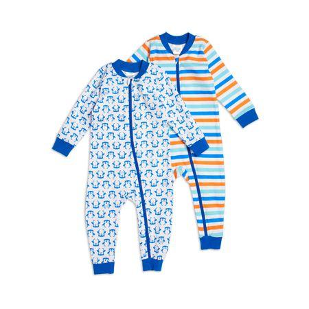 Blå 2-pack pyjamas, 2-pack mönstrad overall med dragked...