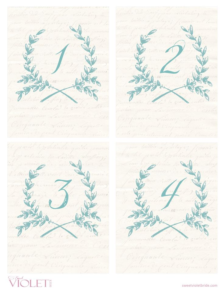 Free Printables - Blue Wreath Table Numbers