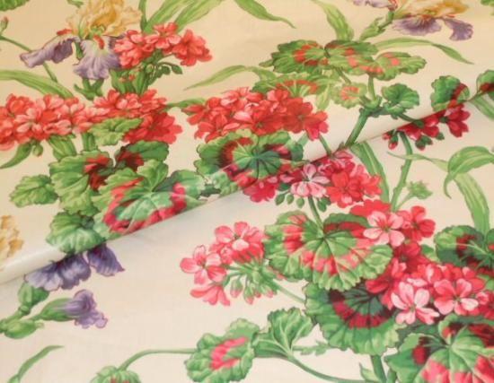 Closeup folded image of Ramm fabric Design Color Spring Iris & Geranium Chintz Fabric
