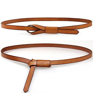 Women's Basic Thin Leather Belt(110*1.4*0.2cm)