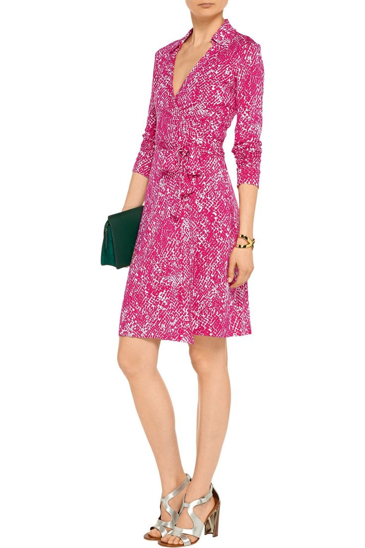 Diane von Furstenberg DVF New Jeanne Two Wrap Dress in Serpent Jazzberry