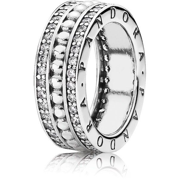 Pandora Ring - Sterling Silver & Cubic Zirconia Forever Pandora ($135) ❤ liked on Polyvore featuring jewelry, rings, silver, sterling silver cubic zirconia rings, sparkle jewelry, cz jewellery, pandora jewelry and sterling silver cz jewelry