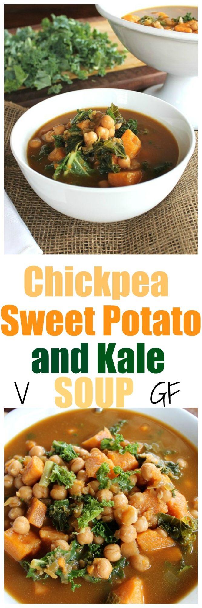 Chickpea, Sweet Potato and Kale Soup. So easy, full of flavor, protein, goodness and just a few ingredients. | http://TheVegan8.com | #vegan #glutenfree #oilfree #soup #chickpea #sweetpotato #kale