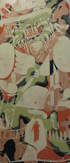 Artist: Reweti Arapere  One-pu  year: 2010  size: 1820 x 800 x 10 mm  media: acrylic and aerosol on plywood