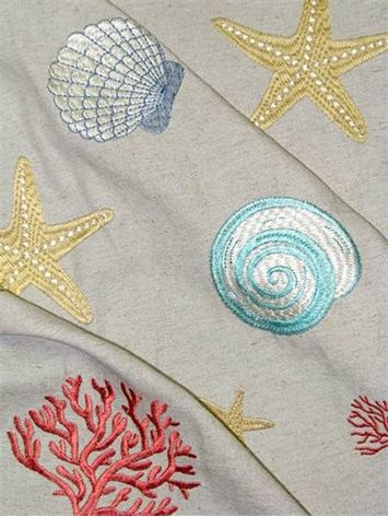 "Beach Embroidery Coral.  Embroidered beach cottage fabric for upholstery, drapery, pillow covers, slip covers or top of the bed. Beautiful Viscose embroidery on poly / linen base cloth. Repeat; H 27"" x V 26"". 53"" wide."