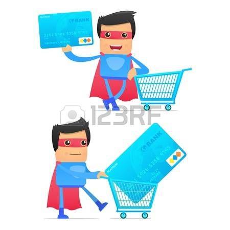 supermarket shopper: conjunto de superhéroe de dibujos animados divertidos