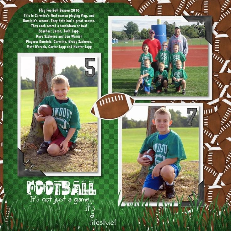 Flag Football Scrapbook Layouts | flag football