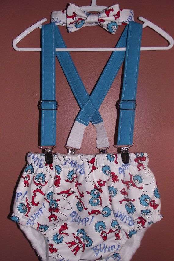 Boys Cake Smash Outfit Dr Seuss Bow Tie Diaper by TheBoytique, $40.00