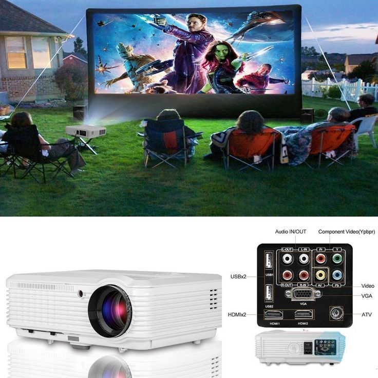 """CAIWEI LED Video Projector HD 200"""" 3600 Lumens Home Projector Support 1080P For Outdoor Indoor Movie Night, Home Cinema Theater for Cable TV, Blu-ray DVD Player, Laptops, iPhone, Smartphones, HD Games"""