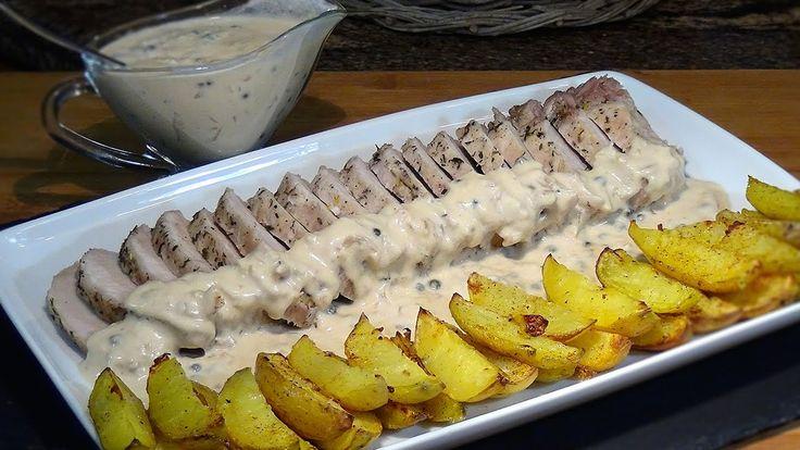 Receta Lomo a la sal con salsa a la pimienta verde - Recetas de cocina, ...