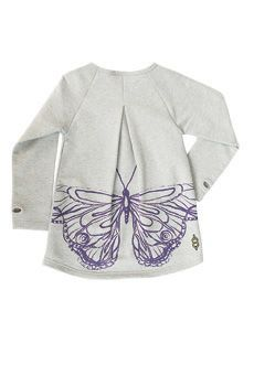 Peekaboo Beans - Let your Bean fly like a butterfly in this A line tunic! With pleated detailing on the front and back, the hand drawn butterfly screen print stands out from the French Terry base. 95% Cotton, 5% Spandex. www.peekaboobeans.com/jennym