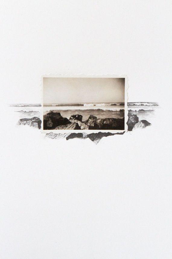 Drawing with Vintage Photo - Ocean Landscape by spencerstudioshop on etsy