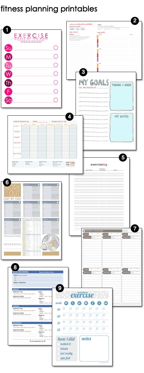 Free Fitness, Exercise, Workout Printables