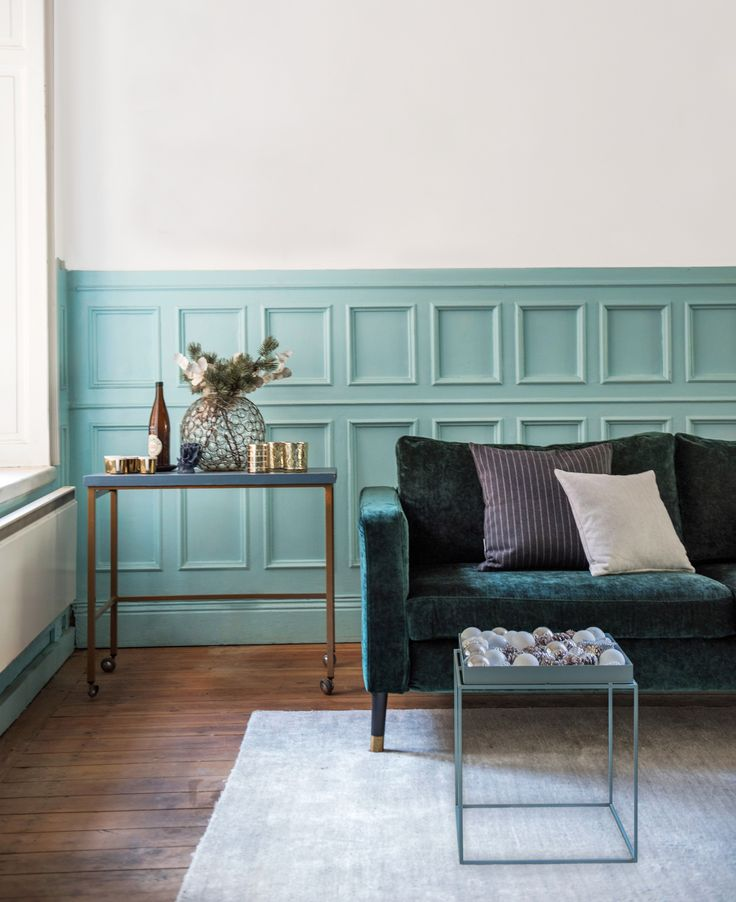 Velvet is our latest fabric obsession | Get into the holiday spirit and update your cushion covers for Christmas | Get the look with an IKEA Karlstad sofa and a Bemz cover in Zaragoza Viridian velvet