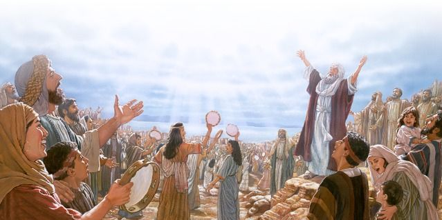 Moisés e os israelitas agradecendo a Jeová