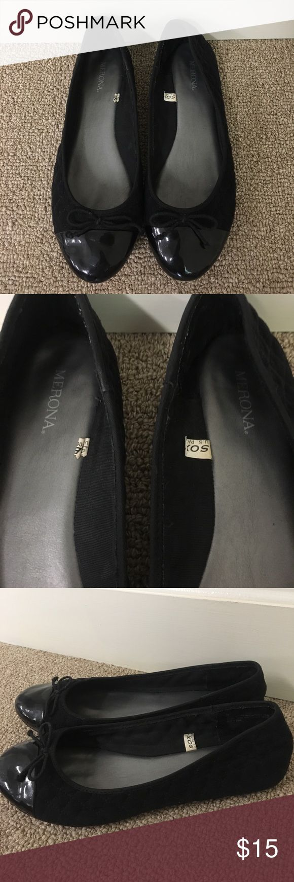 MERONA black flats- quilted w/ bows at top target brand- merona. gently used. very comfy & flexible shoe. great condition. no rips/stains. smoker-free home. willing to negotiate price Merona Shoes Flats & Loafers