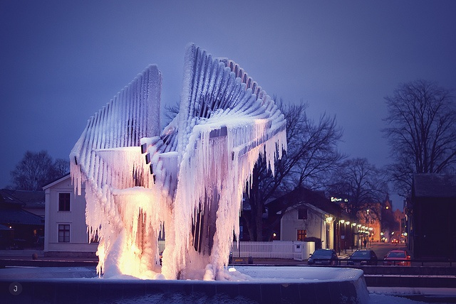 Carl Nesjar ice fountain in Kristinehamn, Varmland, Sweden. Photo by Jenny Karlsson.