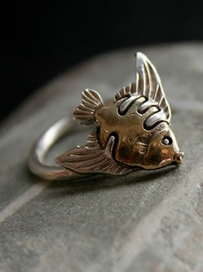 Fish Ring Aloid Silver