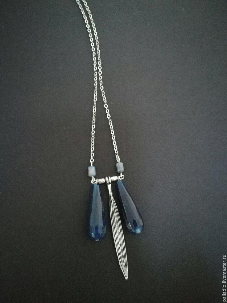 Купить Подвеска Лепестки, агат, кианит - тёмно-синий, подвеска с камнем, подвеска на цепочке