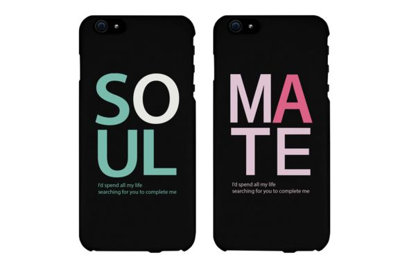 Soul Mate Black Couples Phone Cases for iPhone 4, iPhone 4S, iPhone 5S, iPhone 5C, iPhone 6, iPhone 6 Plus, Galaxy S3, Galaxy S4, Galaxy S5, HTC M8, and LG G3