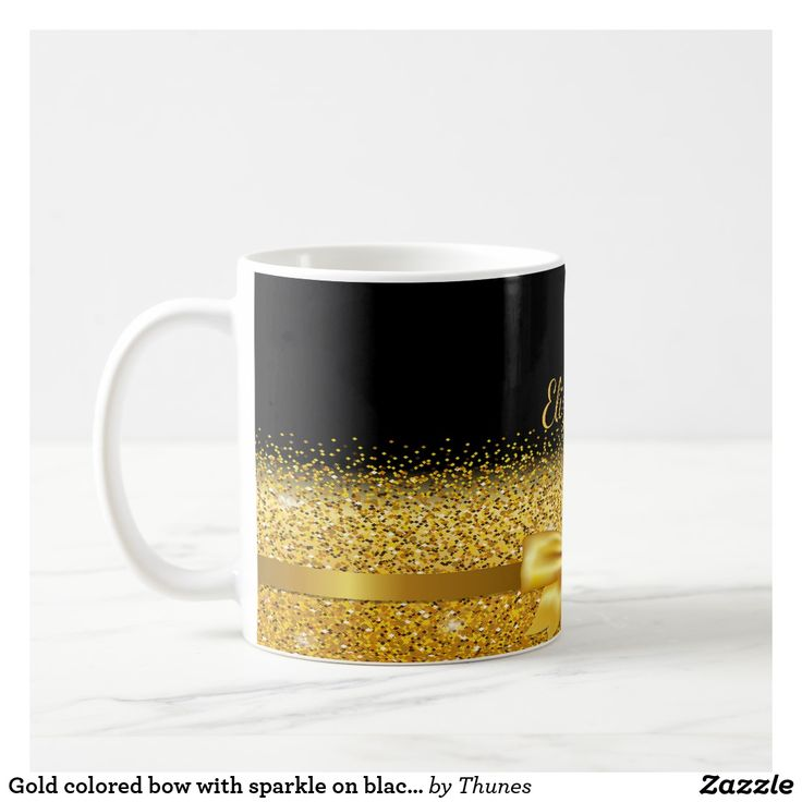 Gold colored bow with sparkle on black add name coffee mug