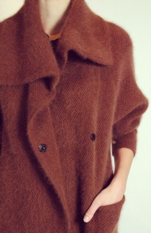 Dark orange brown | Cardigan jacket | Soft textured | Autumn |