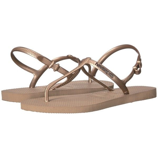 Havaianas Freedom SL Flip-Flops (Rose Gold) Women's Sandals ($30) ❤ liked on Polyvore featuring shoes, sandals, flip flops, havaianas sandals, slingback flip flops, rose gold shoes, slingback shoes and rose gold flip flops