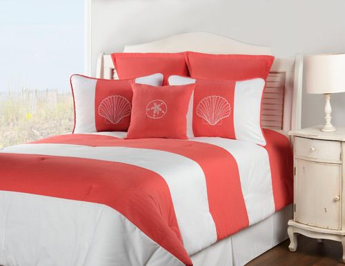 Shell Island Coral Bedding | OceanStyles.com
