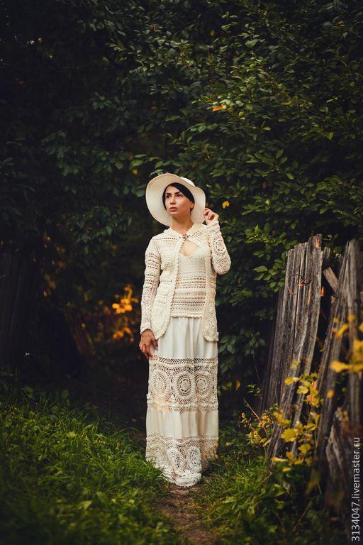 """Купить Костюм-платье """"Анна"""" - бежевый, ретро, свадебное платье, платье крючком, бохо-стиль"""
