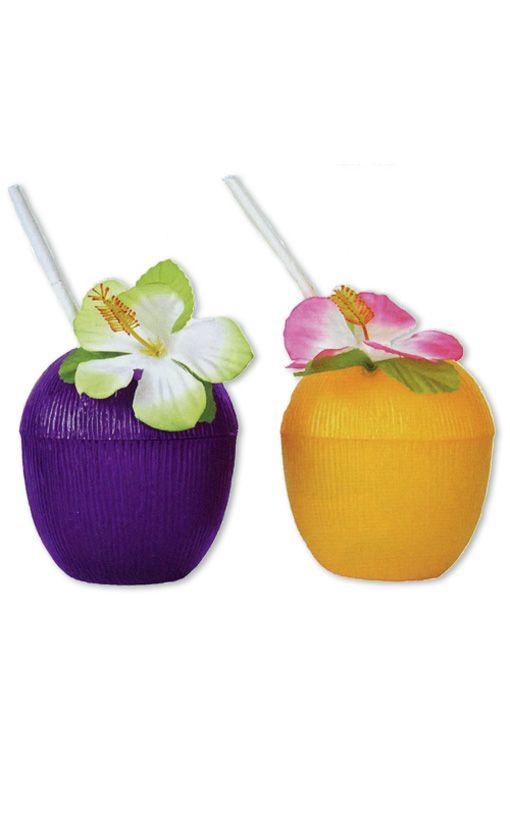Kokosnuss Getränkebecher mit Blume
