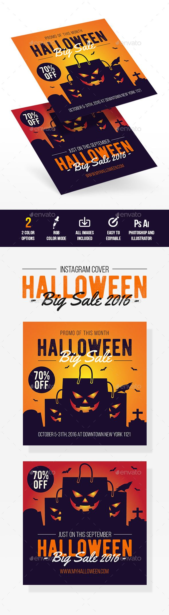 Halloween Sale Instagram Cover  — PSD Template #900x900 #template • Download ➝ https://graphicriver.net/item/halloween-sale-instagram-cover/18178065?ref=pxcr