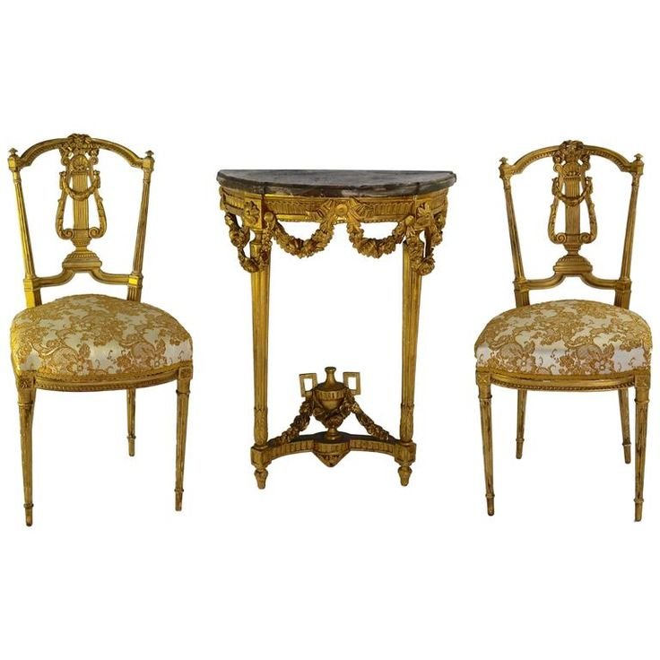 Set of 19th Century French Gilt Console with Matching Salon Chairs For Sale at 1stdibs