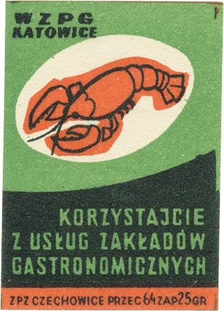 Polish restaurant ad, matchbox