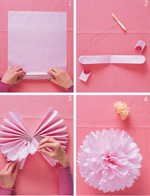 Easy DIY paper flowers. Pretty decorations for a bridal shower, baby shower, Mother's Day, birthdays, and more. These would be fun to do in red, white, and blue for Independence Day.