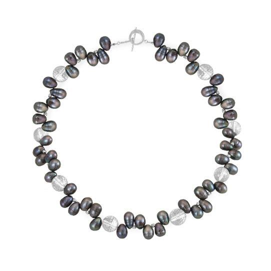 Collar en plata 950 con perlas negras y esferas de cuarzo cristal facetado - Arte y Diseño de Joyas en Uruguay - Sarah Kosta