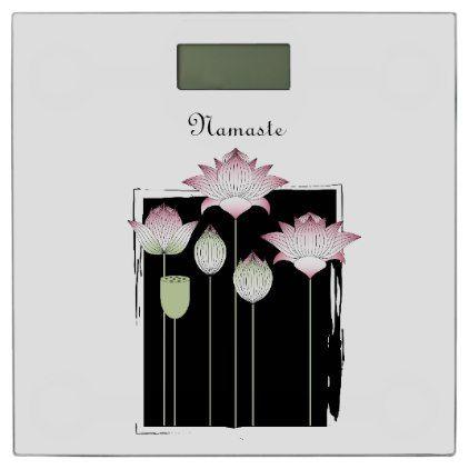#Pink Lotus Flower Namaste Modern Chic Black Custom Bathroom Scale - #flower gifts floral flowers diy