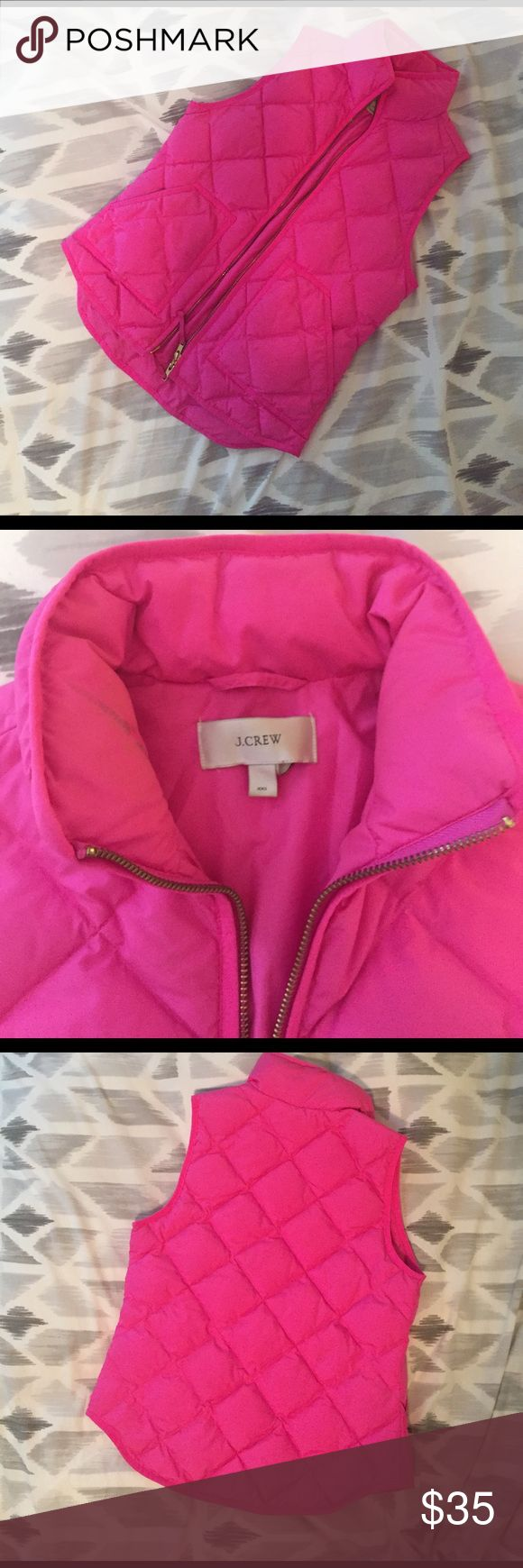 J Crew puffer vest Bright pink j crew puffer vest. Gold zipper. Lightweight but very warm. Warm only a few times. Small mark on inside of collar as shown in the last image (most likely will come off with some scrubbing). Fits sizes 0-2 approx. J. Crew Jackets & Coats Puffers