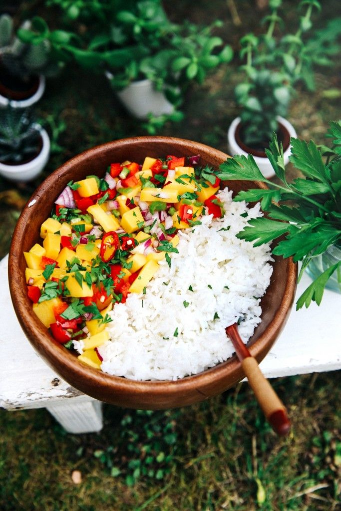 Mango Rice Salad With Peanut Sauce - The Glow Within