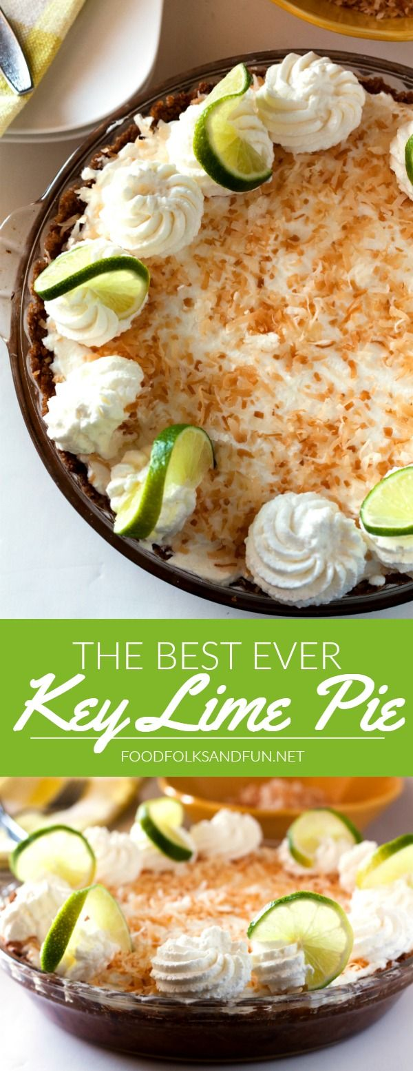 Key Lime Pie is simply THE pie of summer! This recipe has an amazing coconut graham cracker crust, a creamy lime interior, and a perfectly sweet whipped cream topping. | Lime Pie | Summer Recipe | Summer Dessert | Summer Entertaining