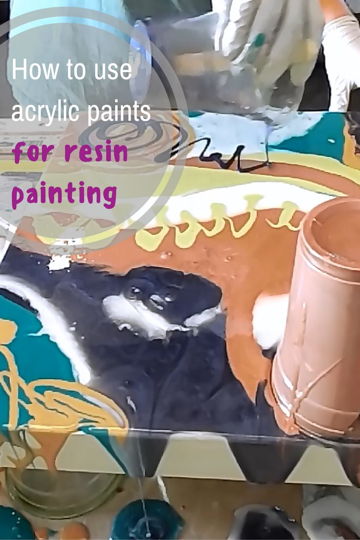 How to mix acrylic paints into resin and use them to create a resin painting