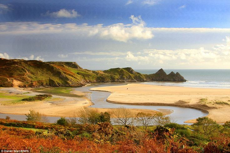 Three Cliffs Bay is a bay on the south coast of the Gower Peninsula in Swansea, Wales. The bay takes its name from the three sea cliffs that... http://www.dailymail.co.uk/news/article-2619938/Caribbean-Maldives-No-Britain-These-beautiful-turquoise-waters-idyllic-coastlines-look-like-tropical-paradise-fact-UKs-hidden-beaches.html