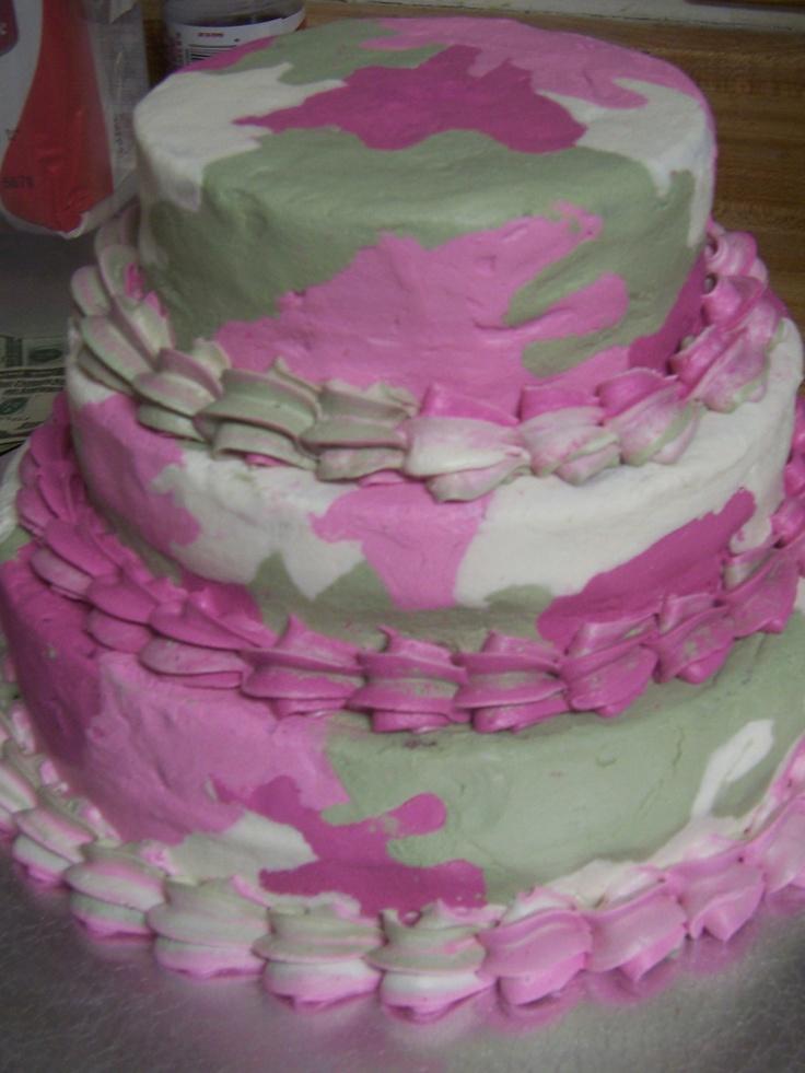 Pink Camo Cake - Cake is Italian Creme with cream cheese buttercream