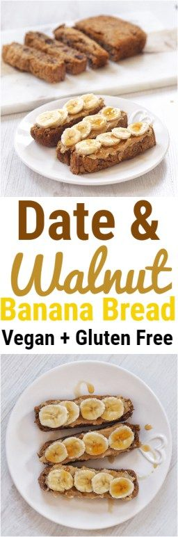 Date and Walnut Vegan Banana Bread #bananabread #date #walnut #healthy #vegan #glutenfree #recipe #dessert #breakfast #bread #sweetloaf