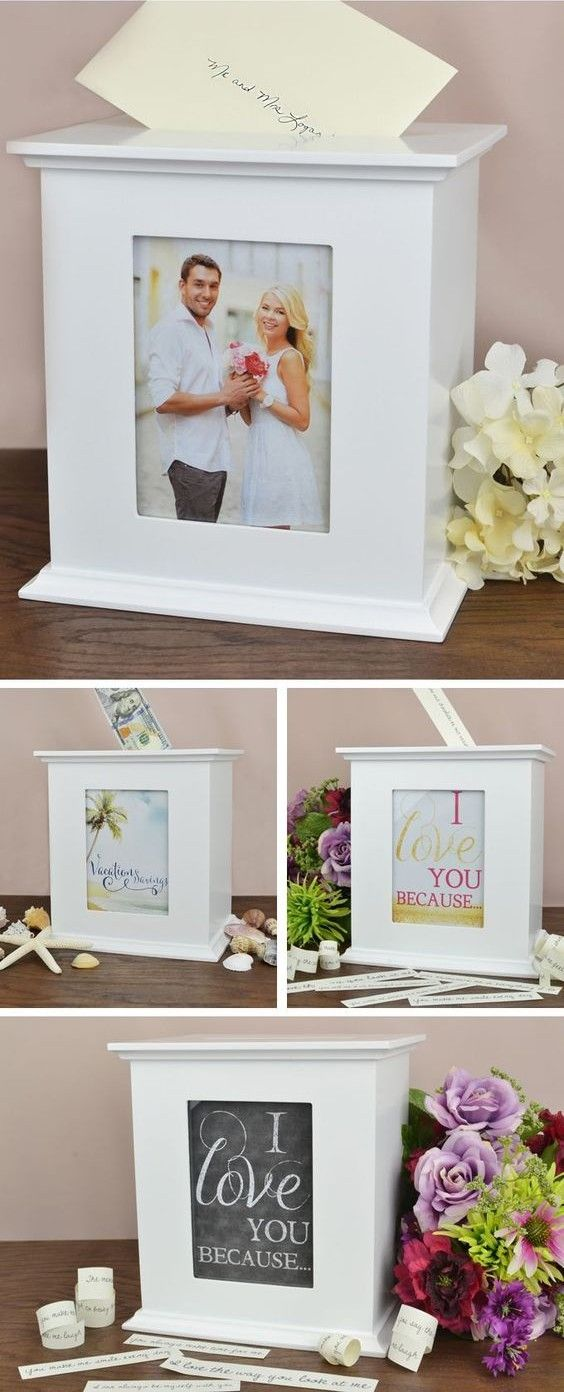Provide an attractive wedding reception receiving table centerpiece to hold gift cards, guest signatures, marriage advice cards or money gifts with this white finish wood photo gift card box. This personalized contemporary style box showcases your favorite 5 x 7 photo of the happy couple or a DIY sign or message to guests as they arrive at the reception hall. This card box can be purchased at http://myweddingreceptionideas.com/personalized-white-wood-photo-gift-card-box.asp