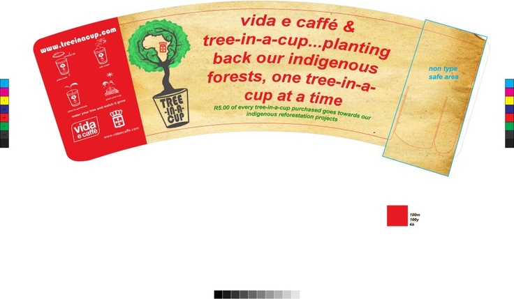 Design for the Tree-In-A-Cup and Vida e Caffe co - branding    Coffee Cup Sleeve