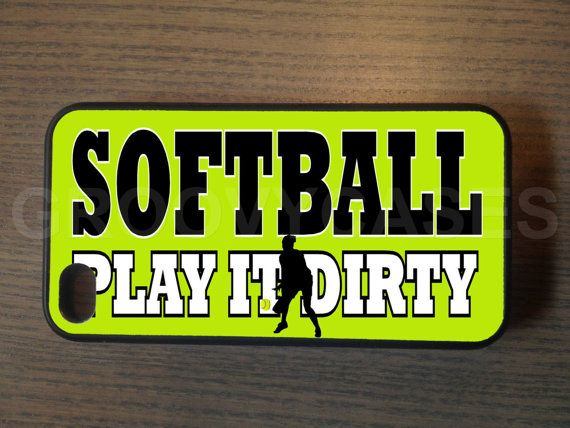 Softball fits iPhone 4/4S iPhone5/5S/5C Samsung Galaxy S3/S4 CASE Rubber on Etsy, $13.99