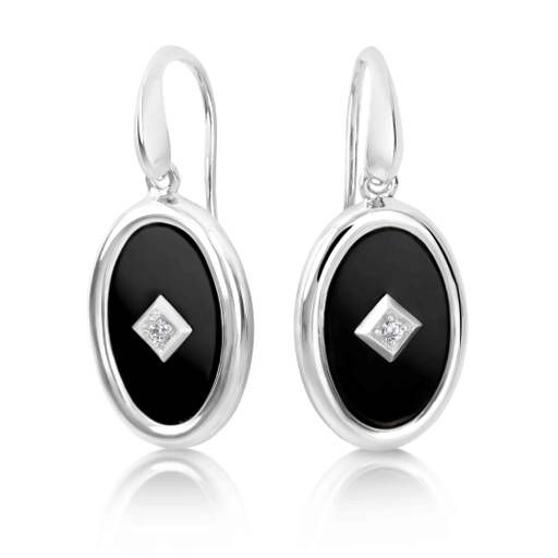 Sterling Silver Onyx and CZ Earrings